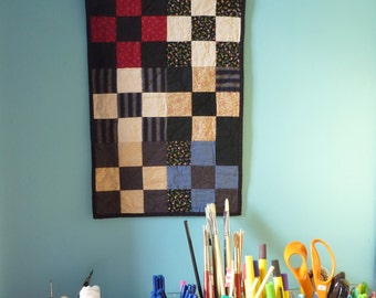 Six Crosses - Patchwork Quilt, Small Wall Hanging