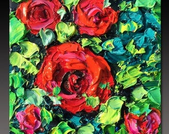 B. Sasik Original Oil Painting  Garden ART FLOWERS Painting