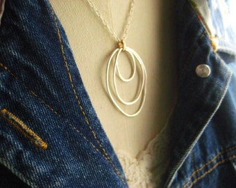 Fine Silver Necklace, Mixed Metals, Sterling Silver, Organic Ovals, Golden Brass, Organic Rings, Womens Jewelry Statement Necklace