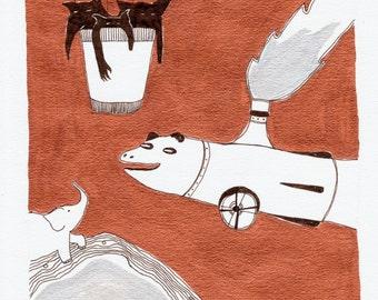 SALE Monster Adventure / Original Illustration by Emma Kidd / metallic shining