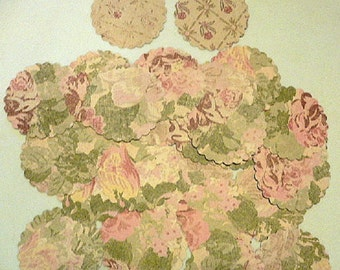 Scallop Cardstock Circles  2 inch  35 count, Pink Roses, Floral,