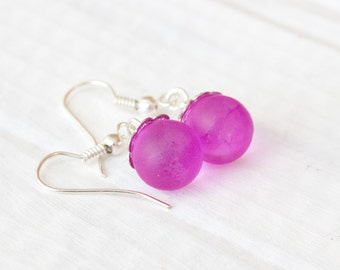 Magenta Marble Earrings,  Painted Glass, Bridesmaid Jewelry
