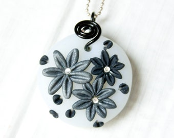 Monochrome Flower Polymer Clay Pendant