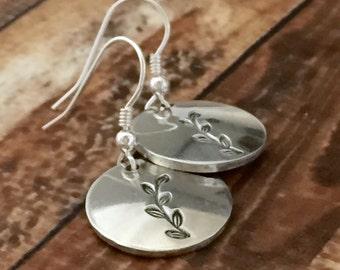 Leaf Stamped Earrings - Pewter - Hand Stamped
