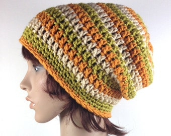 Crochet Slouchy Beanie in Pumpkin, Green, Beige Stripes - Super Length - Unisex