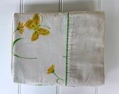 Butterfly Sheet Set - Yellow and Green on Beige - Full Size - Percale - Spring Green Yellow Orange - New - Unused Vintage