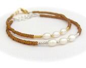Pearl Bracelet, Real Pearl Bracelet, Topaz Brown Bracelet, Friendship Bracelet, Beaded Bracelet, Miss Ceces Jewels Hawaii Jewelry