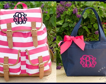 Set of 2 - Hot Pink Striped Personalized Campus Backpack and Solid Navy Lunch Box - Monogrammed Knapsack Backpack, Rucksack Bookbags, Large