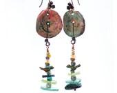 Ancient Roman Glass Earrings - Polymer Clay Disc earrings - Bird earrings - As seen in Belle Armoire magazine