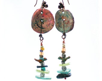 Ancient Roman Glass Earrings - Polymer Clay Disc earrings - Bird earrings - As seen in Belle Armoire magazine