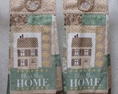 SET of 2 - Hanging Cloth Top Kitchen Hand Towels - Beige Scroll Print, Larger Bless This Home Towels