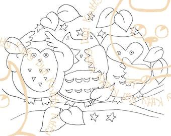 Digi Stamp Instant Download. Hearnoevil, Seenoevil, Hootnoevil - Knitty Kitty Digis No. 10.