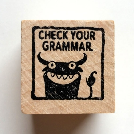 Check Your Grammar - Monster rubber stamp for teachers