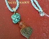 Beaded Necklace with Turquoise and Heart Drop