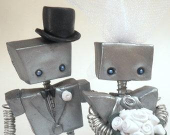 Silver Robot Cake Topper