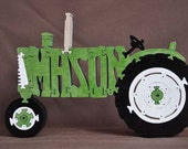 MASON or JACOB Personalized Antique Green Farm Tractor Wooden Toy Puzzle Hand Cut