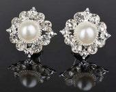 Bridal Stud Earrings, Wedding Pearl Crystal Earrings, Bridal Rhinestone Stud Earrings, Wedding Jewelry, Bridal Bridesmaid Earrings