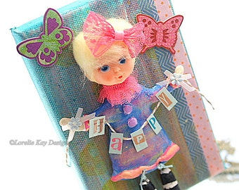 Happy Mixed Media Painting Retro Art Doll Picture Decoration Doll Art Whimsical Picture