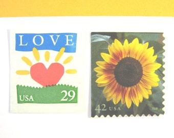 Unused Postage Stamps to Mail 20 Wedding Invites, Golden Sunflower, Love Sunrise, 2 oz. 71 cents postage, Rustic Floral Love Stamps
