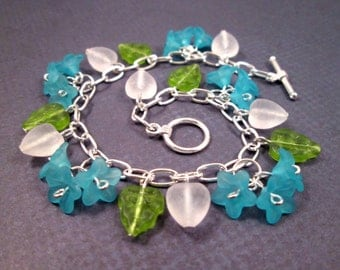 Flower Charm Bracelet, Blue Green White and Silver Beaded Bracelet, FREE Shipping U.S.