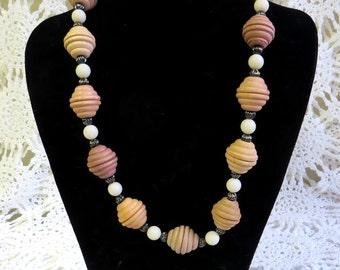 Earthtone Necklace - Wooden Ridged Beads