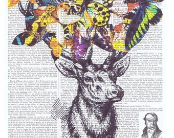 Deer,Butterflies.Collage.Fantasy.Antique Book Pages Print,handmade gift.home decor,vintage,retro.french.art.birthday.antlers.nursery.baby
