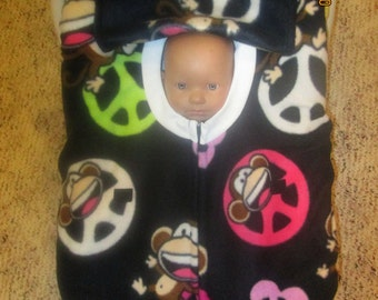 Bobby Jack Peace signs monkey fleece infant baby car seat cover with full zipper & weather flap. Wonderful gift for newborn.