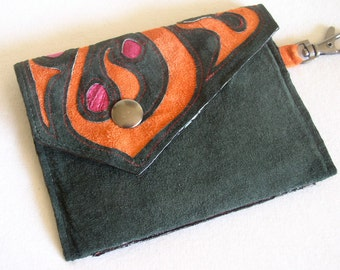 Little Envelope Wallet in Black Suede with Keyclip