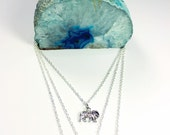 Blue Crystal and Elephant Layered Charm Necklaces