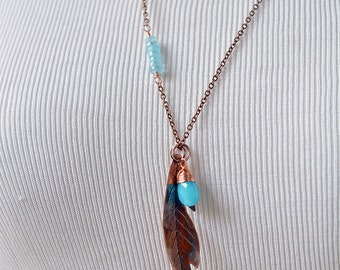 Feather Necklace - Copper Feather - Layering Necklace - Fall Wedding - Birthday - Everyday Jewelry - Tribal Jewelry - Boho Jewelry N2088