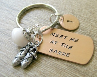 Ballet keychain, Dance Keychain, Meet Me At the Barre, Personalized initial disc, ballet shoes charm, pale pink bead accent, dancer gift