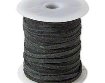 Genuine Suede Leather Cord Lace Dark Hunter Green 3mm wide for necklaces and bracelets, 10 or 25 ft.