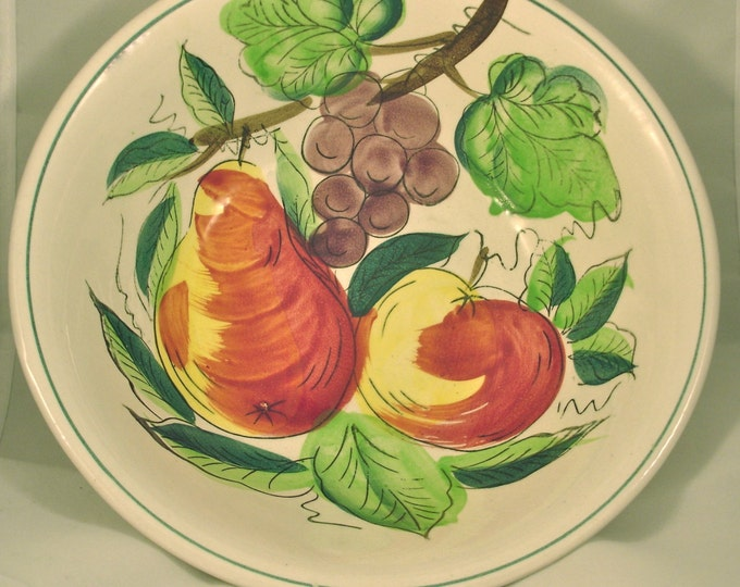 Large Vintage Ironstone Hand Painted Fruit Bowl Off White