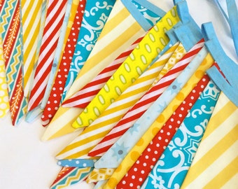 Set of TWO Extra Long Circus or Carnival Themed Fabric Bunting Banners,  Vintage and Gender Neutral. For Birthday, Weddings, Party Decor