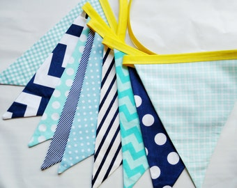 Chose From 8 Different Color Combo Options, Boy's Fabric Flag Bunting, Surprise Prop Banner Garland Pennant Decor Birthday Party Room Decor