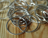 Silver plated circular link connector O ring 20mm outer diameter 1mm (18g) thick, 20 pcs (item ID YWFA00011SP)