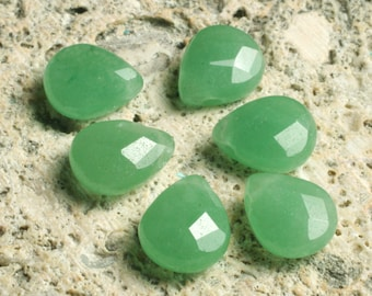 Aventurine (natural) faceted teardrop 10x9mm, 2 pcs (item ID L02GAFT10x9)