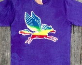 Pegasus rainbow batik men hand drawn hand painted hand dyed individually eco friendly purple -festival clothes-