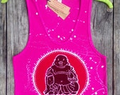 Batik laughing buddha women tank top eco friendly splatter pink hand drawn hand painted hand dyed -yoga clothes-