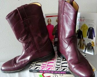 Vintage JUSTIN Roper Boots Leather Ladies Size 9 N Eur 40 UK 6 .5 EGGPLANT Purple Western Rockabilly Ankle Men's sz 7 .5 B Narrow width