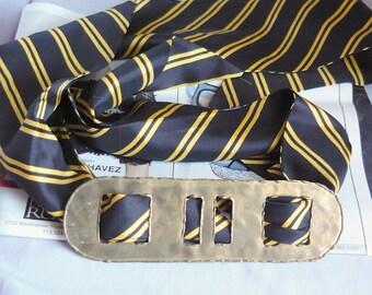 Vintage Large Brutalist Belt Buckle  Brass 1980s Scarf Ring Simple Architectural Shape Bohemian