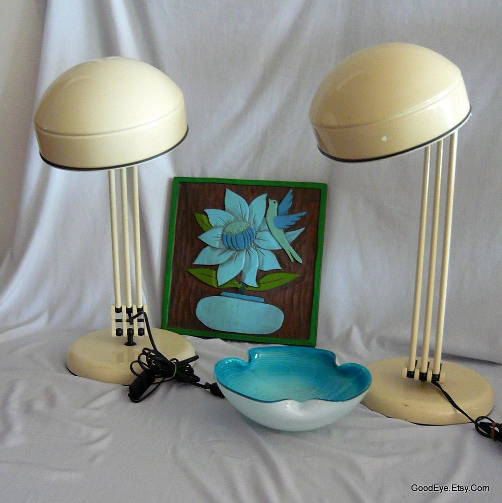Golden Yellow Metal Kitchen Cart Movable Painted Vintage 50s: Vintage Cosmo Desk Lamp Pair ERAZIO MCM Industrial Mod 1970s