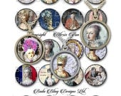 Marie Antoinette Gets A Facelift,  1.5 inch circles,  INSTANT DOWNLOAD at Checkout,  Marie Antoinette collage sheets