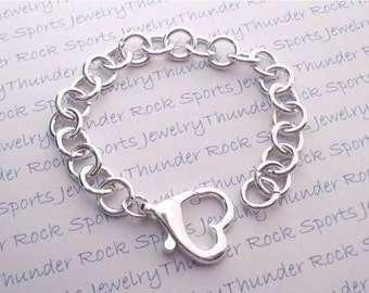 Silver Charm Bracelet Chain with Heart Clasp Blank