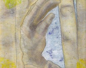 Touch Wood II, hands, 9 x 12, art on paper