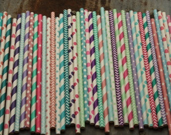 Princess Party Straws -- Hot Pink-Blue-Aqua-Purple-Lavender-Mint Green-Pink-Paper Straws