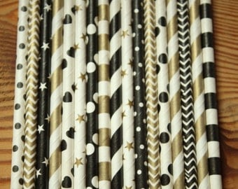 Paper Straws, New Years Eve, Christmas, Black Gold, Stripes, Dots, Chevron, Stars, Winter Wedding, Vintage