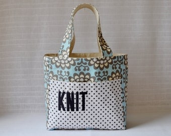 Stand Up Knitting Tote - Wallflower in Sky Blue