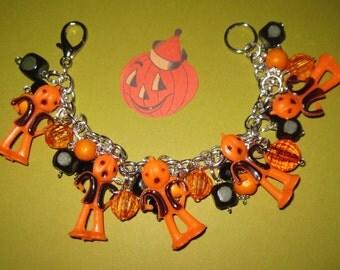 Halloween Charm Bracelet Pumpkin Head Pumpkinhead JOL Vintage Style Costume Jewelry OOAK Prim Folk Art Retro Style Kitsch Statement Piece
