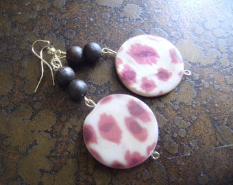 Leopard New Spot Mother of Pearl and Wood Beaded Dangle earrings